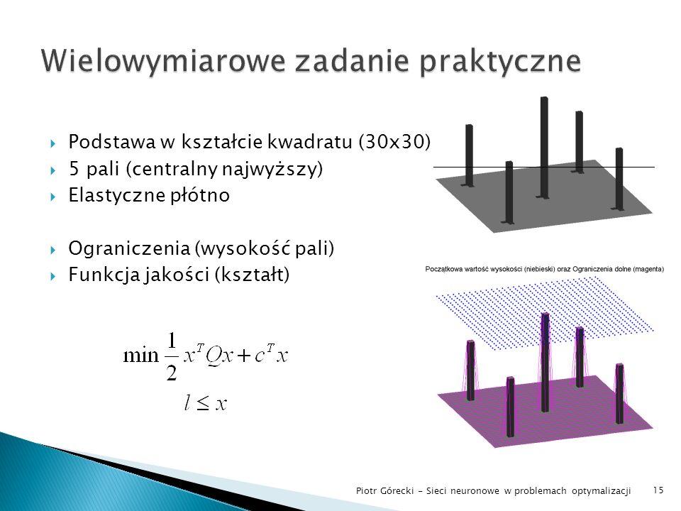 Podstawa w kształcie kwadratu (30x30) 5 pali (centralny najwyższy) Elastyczne płótno Ograniczenia (wysokość pali) Funkcja jakości (kształt) 15 Piotr G
