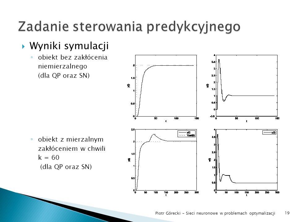 Wyniki symulacji obiekt bez zakłócenia niemierzalnego (dla QP oraz SN) obiekt z mierzalnym zakłóceniem w chwili k = 60 (dla QP oraz SN) 19 Piotr Górec
