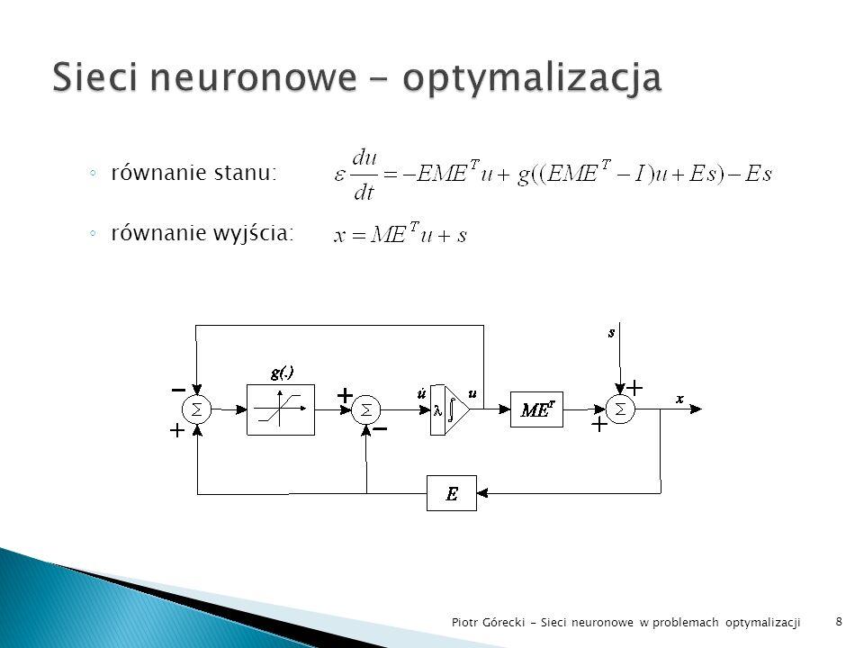 Omówienie struktury wybranych sieci analiza zbieżności, wyprowadzenie wzorów badanie złożoności Zadanie teoretyczne symulacja Simulink Praktyczne zadanie wielowymiarowe (namiot) symulacja Matlab (solver ode45) Zadanie sterowania predykcyjnego sieć jako moduł minimalizujący algorytmu DMC Idea realizacji analogowej 9 Piotr Górecki - Sieci neuronowe w problemach optymalizacji
