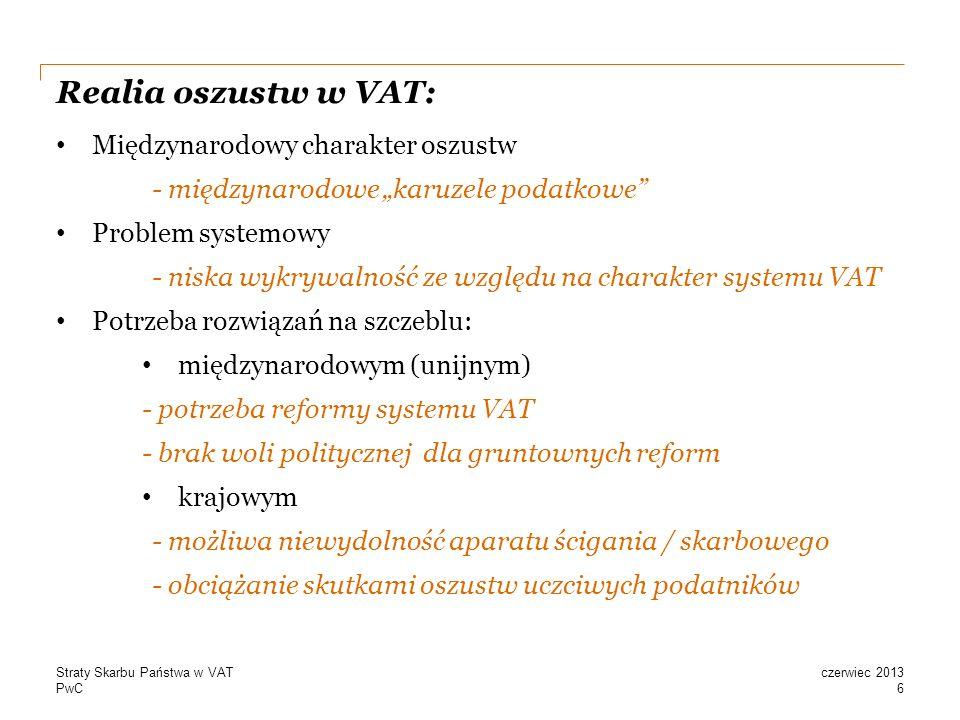 PwC Realia oszustw w VAT: Międzynarodowy charakter oszustw - międzynarodowe karuzele podatkowe Problem systemowy - niska wykrywalność ze względu na charakter systemu VAT Potrzeba rozwiązań na szczeblu: międzynarodowym (unijnym) - potrzeba reformy systemu VAT - brak woli politycznej dla gruntownych reform krajowym - możliwa niewydolność aparatu ścigania / skarbowego - obciążanie skutkami oszustw uczciwych podatników 6 czerwiec 2013Straty Skarbu Państwa w VAT