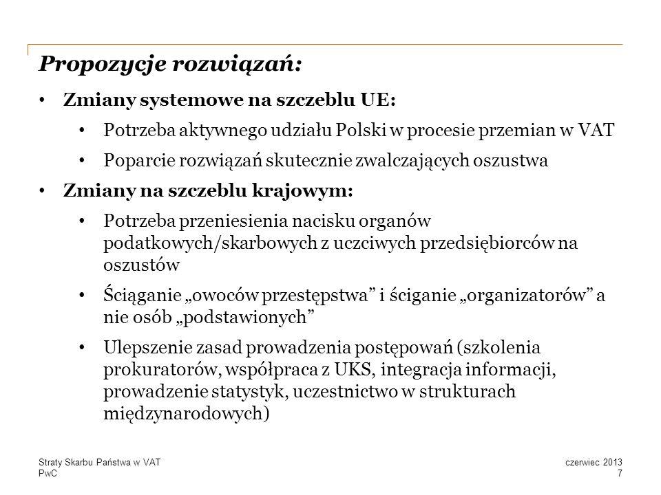 PwC Propozycje rozwiązań: 7 czerwiec 2013Straty Skarbu Państwa w VAT Zmiany systemowe na szczeblu UE: Potrzeba aktywnego udziału Polski w procesie przemian w VAT Poparcie rozwiązań skutecznie zwalczających oszustwa Zmiany na szczeblu krajowym: Potrzeba przeniesienia nacisku organów podatkowych/skarbowych z uczciwych przedsiębiorców na oszustów Ściąganie owoców przestępstwa i ściganie organizatorów a nie osób podstawionych Ulepszenie zasad prowadzenia postępowań (szkolenia prokuratorów, współpraca z UKS, integracja informacji, prowadzenie statystyk, uczestnictwo w strukturach międzynarodowych)