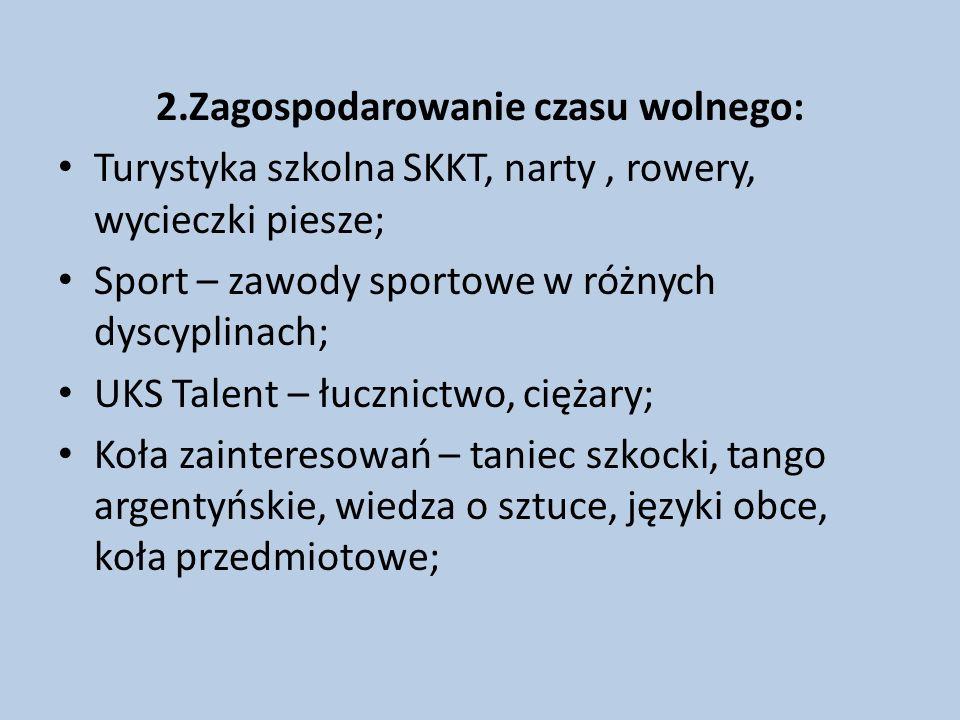 2.Zagospodarowanie czasu wolnego: Turystyka szkolna SKKT, narty, rowery, wycieczki piesze; Sport – zawody sportowe w różnych dyscyplinach; UKS Talent