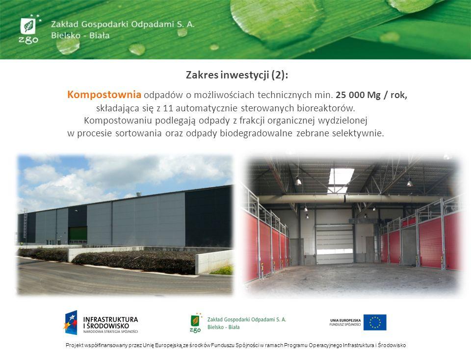 Zakres inwestycji (2): Kompostownia odpadów o możliwościach technicznych min. 25 000 Mg / rok, składająca się z 11 automatycznie sterowanych bioreakto