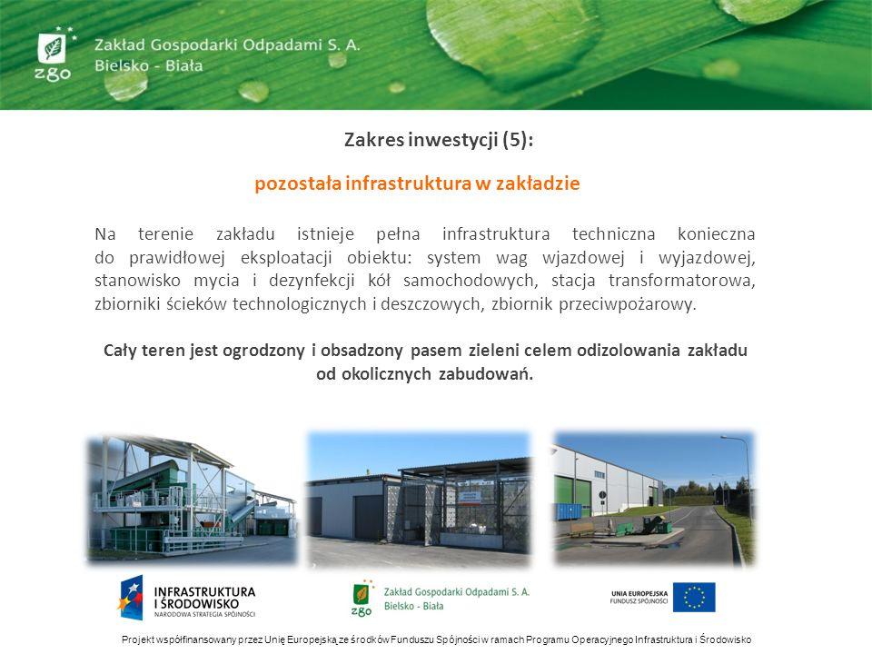 Zakres inwestycji (5): pozostała infrastruktura w zakładzie Projekt współfinansowany przez Unię Europejską ze środków Funduszu Spójności w ramach Prog