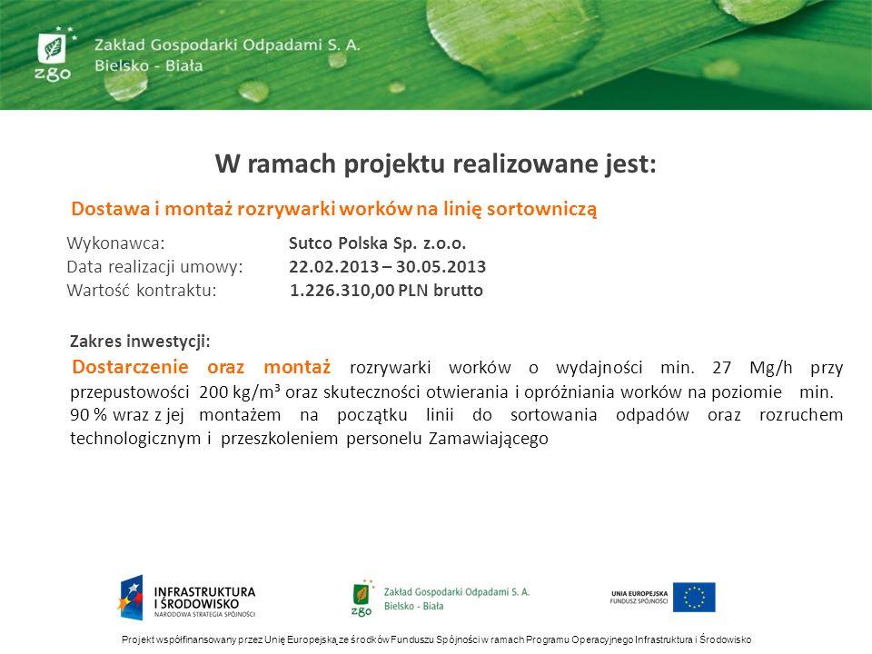 W ramach projektu realizowane jest: Dostawa i montaż rozrywarki worków na linię sortowniczą Wykonawca: Sutco Polska Sp. z.o.o. Data realizacji umowy: