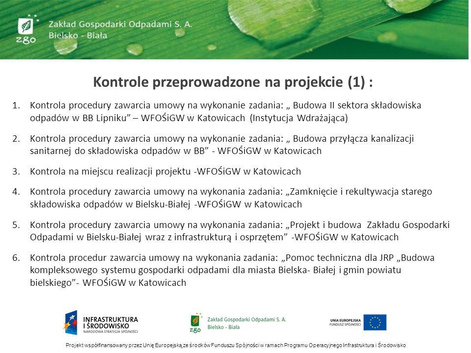 Kontrole przeprowadzone na projekcie (1) : 1.Kontrola procedury zawarcia umowy na wykonanie zadania: Budowa II sektora składowiska odpadów w BB Lipnik