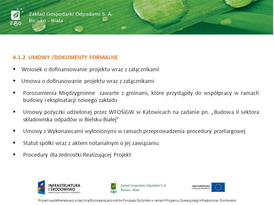 4.1.2 UMOWY /DOKUMENTY FORMALNE Wniosek o dofinansowanie projektu wraz z załącznikami Umowa o dofinasowanie projektu wraz z załącznikami Porozumienia