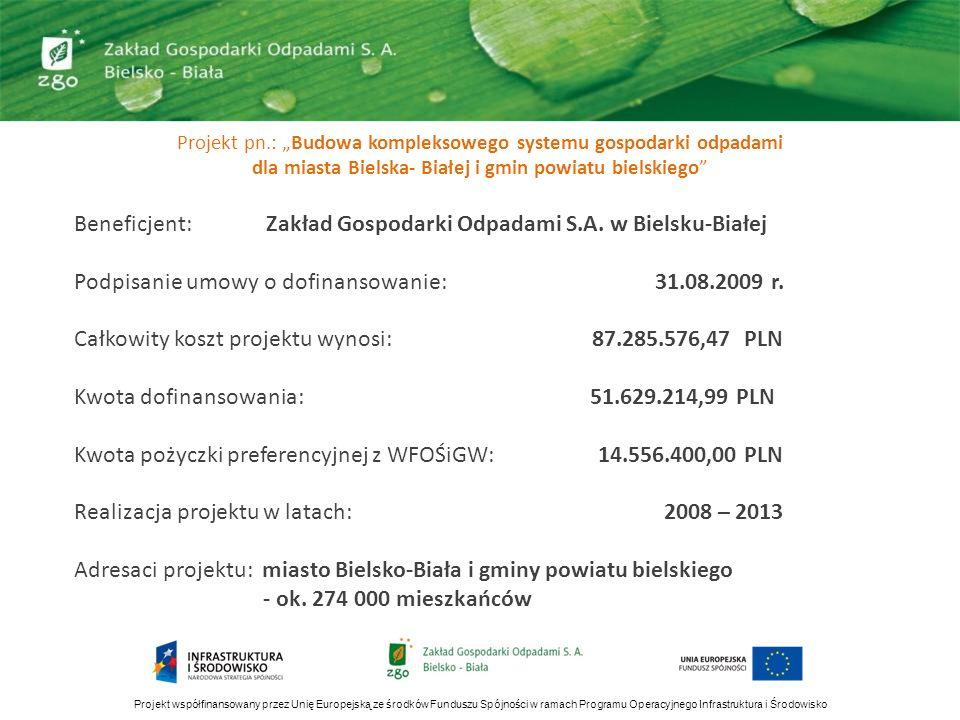 Projekt współfinansowany przez Unię Europejską ze środków Funduszu Spójności w ramach Programu Operacyjnego Infrastruktura i Środowisko Projekt pn.: B