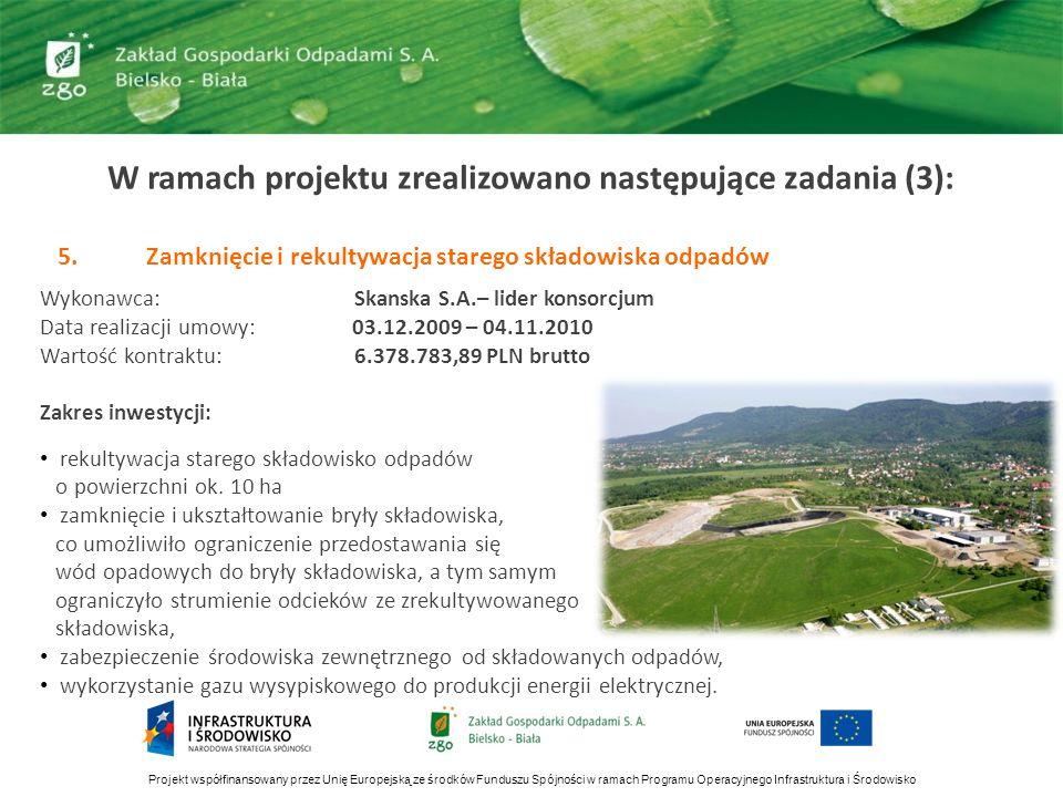 W ramach projektu zrealizowano następujące zadania (4): 6.Projekt i budowa ZGO w Bielsku-Białej Lipniku wraz z infrastrukturą i osprzętem Wykonawca: Bielskie Przedsiębiorstwo Budownictwa Przemysłowego S.A.