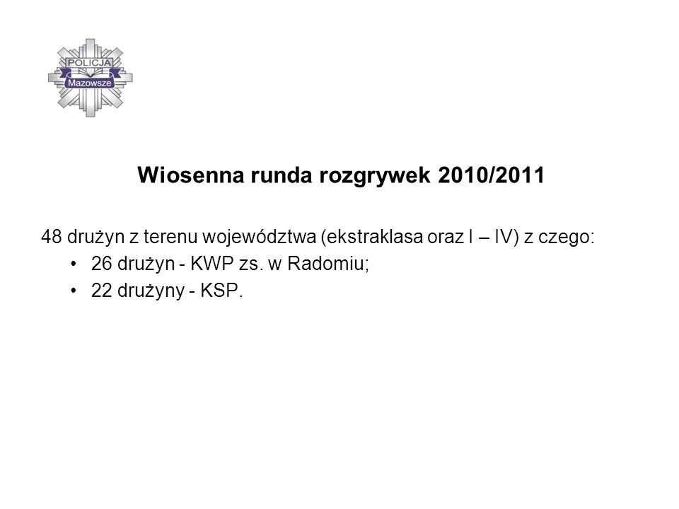 Wiosenna runda rozgrywek 2010/2011 48 drużyn z terenu województwa (ekstraklasa oraz I – IV) z czego: 26 drużyn - KWP zs.