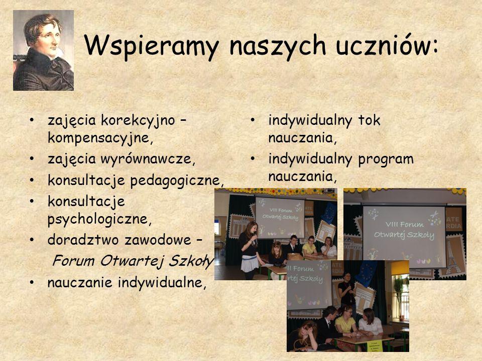 Wspieramy naszych uczniów: zajęcia korekcyjno – kompensacyjne, zajęcia wyrównawcze, konsultacje pedagogiczne, konsultacje psychologiczne, doradztwo za