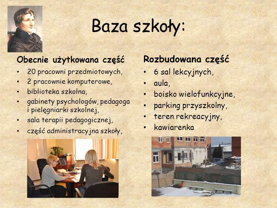Baza szkoły: Obecnie użytkowana część 20 pracowni przedmiotowych, 2 pracownie komputerowe, biblioteka szkolna, gabinety psychologów, pedagoga i pielęg