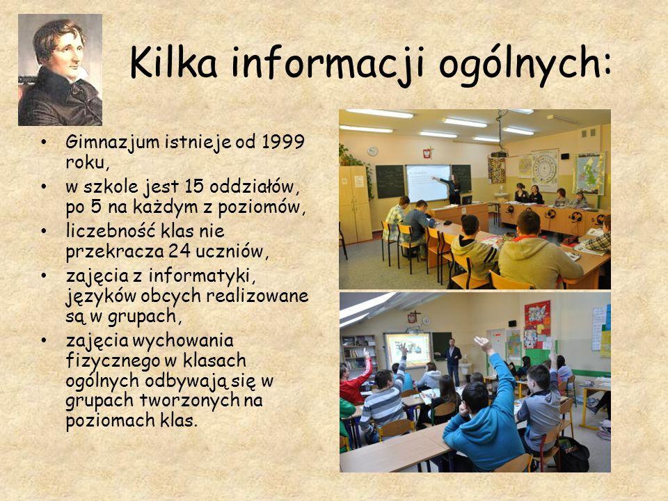 Kilka informacji ogólnych: Gimnazjum istnieje od 1999 roku, w szkole jest 15 oddziałów, po 5 na każdym z poziomów, liczebność klas nie przekracza 24 u