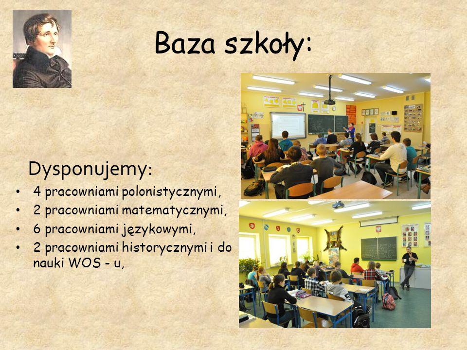 Baza szkoły: Dysponujemy: 4 pracowniami polonistycznymi, 2 pracowniami matematycznymi, 6 pracowniami językowymi, 2 pracowniami historycznymi i do nauk
