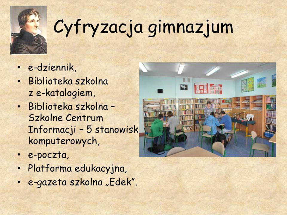 Cyfryzacja gimnazjum e-dziennik, Biblioteka szkolna z e-katalogiem, Biblioteka szkolna – Szkolne Centrum Informacji – 5 stanowisk komputerowych, e-poc