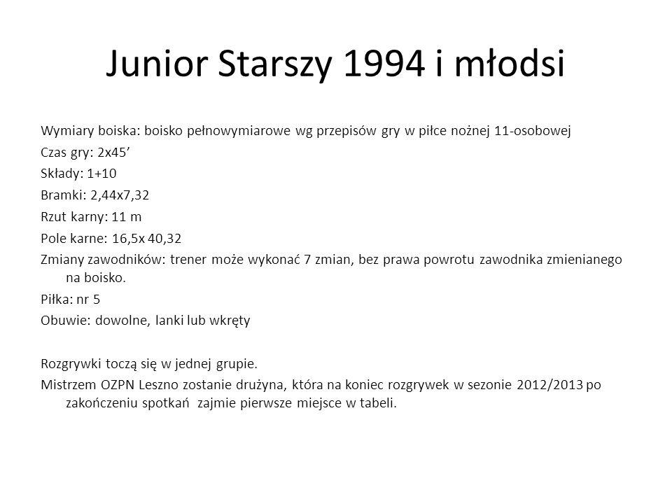 Junior Starszy 1994 i młodsi Wymiary boiska: boisko pełnowymiarowe wg przepisów gry w piłce nożnej 11-osobowej Czas gry: 2x45 Składy: 1+10 Bramki: 2,4
