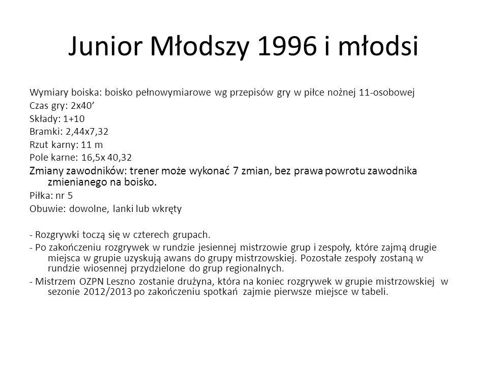Junior Młodszy 1996 i młodsi Wymiary boiska: boisko pełnowymiarowe wg przepisów gry w piłce nożnej 11-osobowej Czas gry: 2x40 Składy: 1+10 Bramki: 2,4