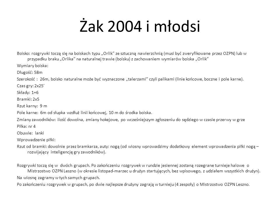 Żak 2004 i młodsi Boisko: rozgrywki toczą się na boiskach typu Orlik ze sztuczną nawierzchnią (musi być zweryfikowane przez OZPN) lub w przypadku brak