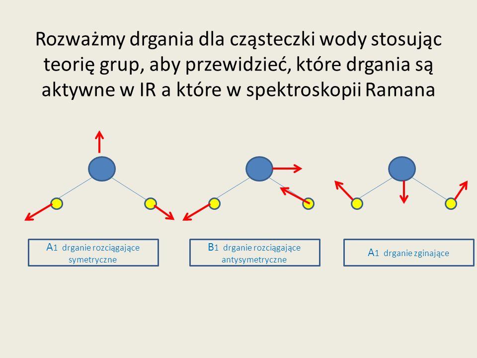 Rozważmy drgania dla cząsteczki wody stosując teorię grup, aby przewidzieć, które drgania są aktywne w IR a które w spektroskopii Ramana A 1 drganie r