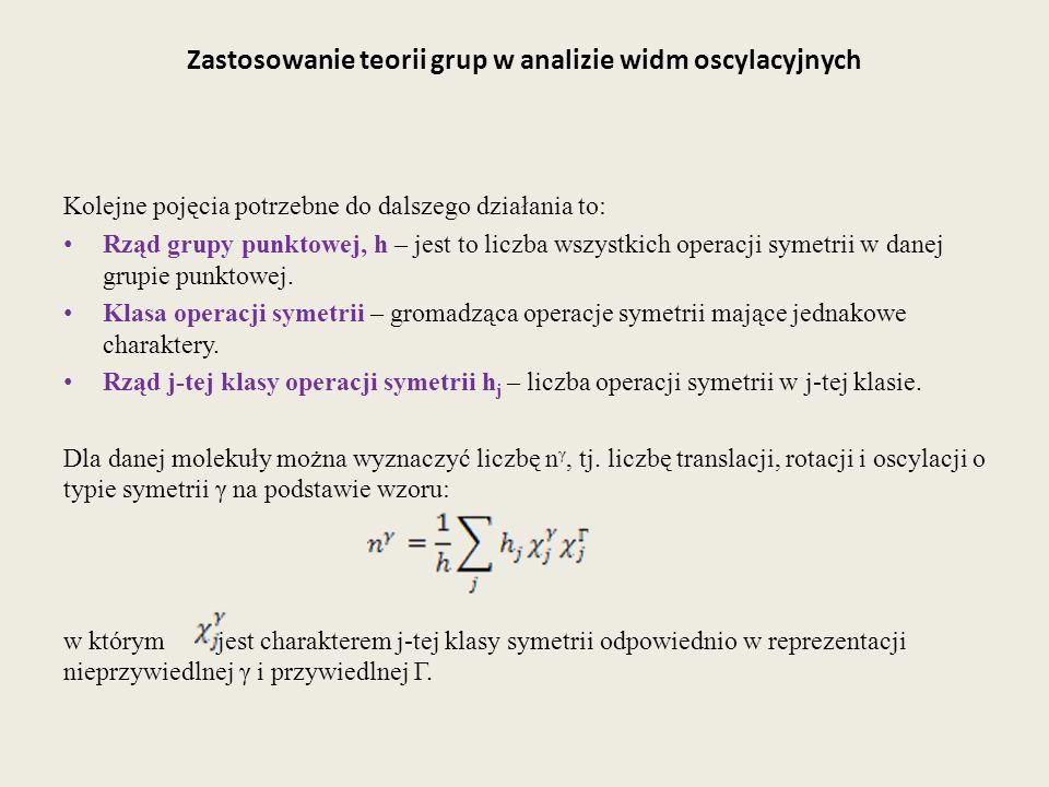 Zastosowanie teorii grup w analizie widm oscylacyjnych Kolejne pojęcia potrzebne do dalszego działania to: Rząd grupy punktowej, h – jest to liczba ws