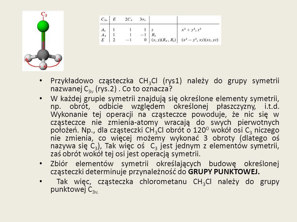 Przykładowo cząsteczka CH 3 Cl (rys1) należy do grupy symetrii nazwanej C 3v (rys.2). Co to oznacza? W każdej grupie symetrii znajdują się określone e