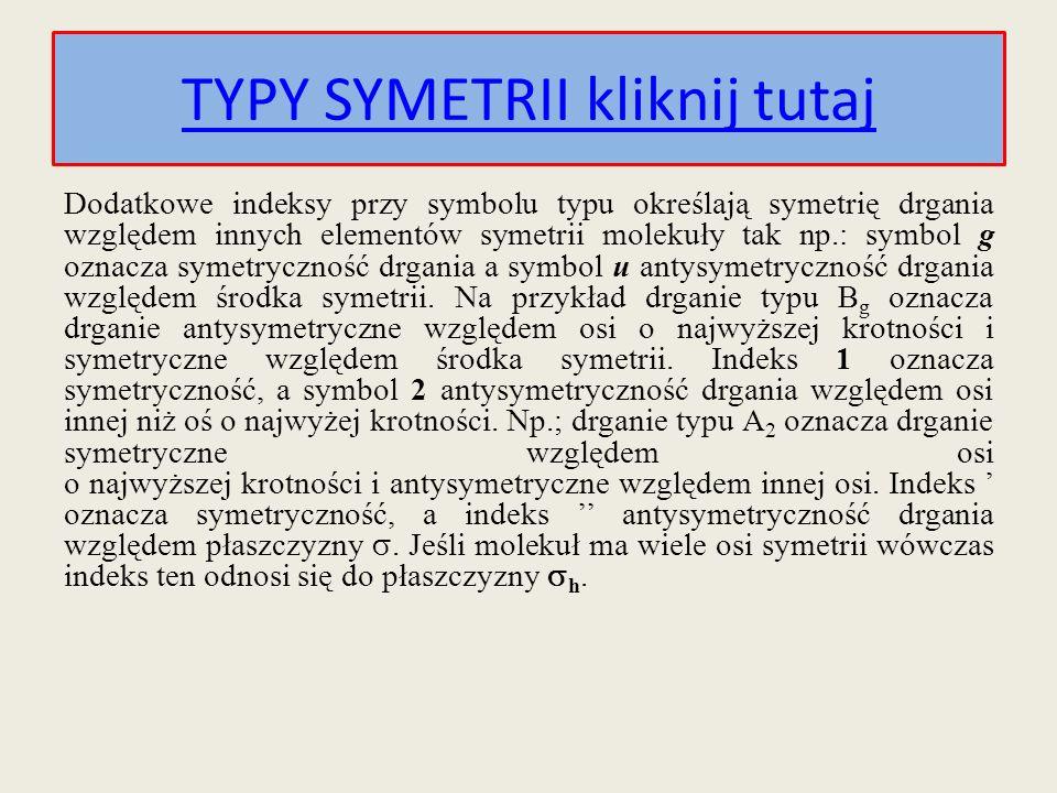 Dodatkowe indeksy przy symbolu typu określają symetrię drgania względem innych elementów symetrii molekuły tak np.: symbol g oznacza symetryczność drg