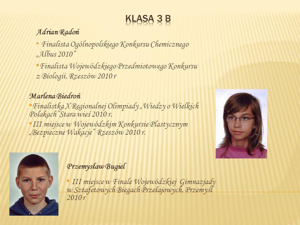 Marlena Biedroń Finalistka X Regionalnej Olimpiady Wiedzy o Wielkich PolakachStara wieś 2010 r.