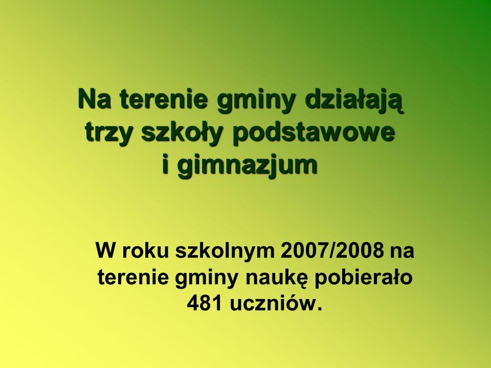 Na terenie gminy działają trzy szkoły podstawowe i gimnazjum W roku szkolnym 2007/2008 na terenie gminy naukę pobierało 481 uczniów.
