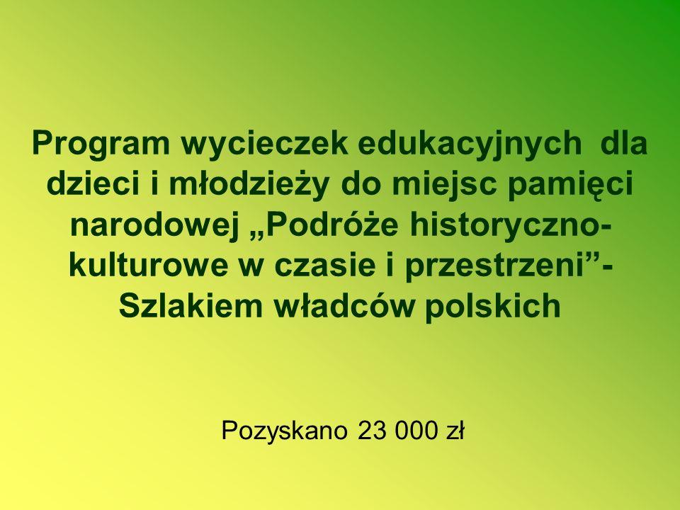 Program wycieczek edukacyjnych dla dzieci i młodzieży do miejsc pamięci narodowej Podróże historyczno- kulturowe w czasie i przestrzeni- Szlakiem władców polskich Pozyskano 23 000 zł