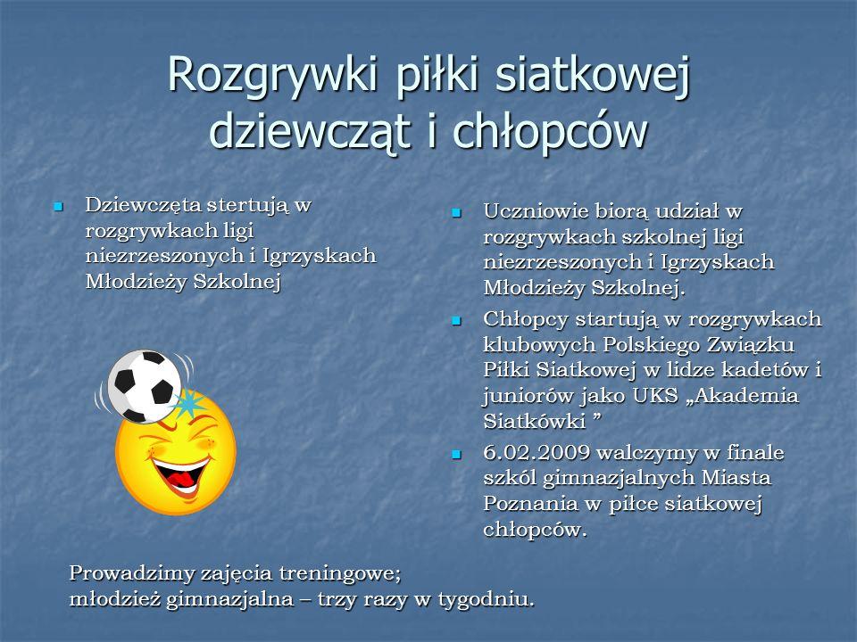 Rozgrywki piłki siatkowej dziewcząt i chłopców Uczniowie biorą udział w rozgrywkach szkolnej ligi niezrzeszonych i Igrzyskach Młodzieży Szkolnej.