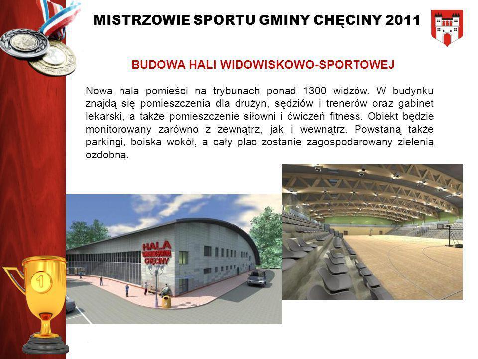 MISTRZOWIE SPORTU GMINY CHĘCINY 2011 BUDOWA HALI WIDOWISKOWO-SPORTOWEJ Nowa hala pomieści na trybunach ponad 1300 widzów. W budynku znajdą się pomiesz