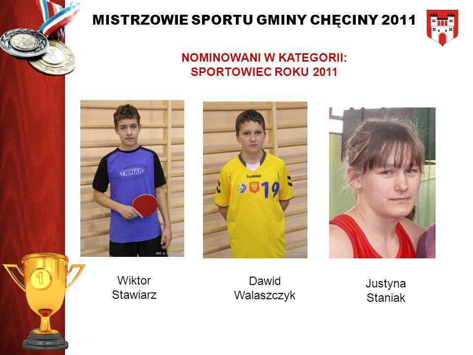 MISTRZOWIE SPORTU GMINY CHĘCINY 2011 NOMINOWANI W KATEGORII: SPORTOWIEC ROKU 2011 Wiktor Stawiarz Dawid Walaszczyk Justyna Staniak