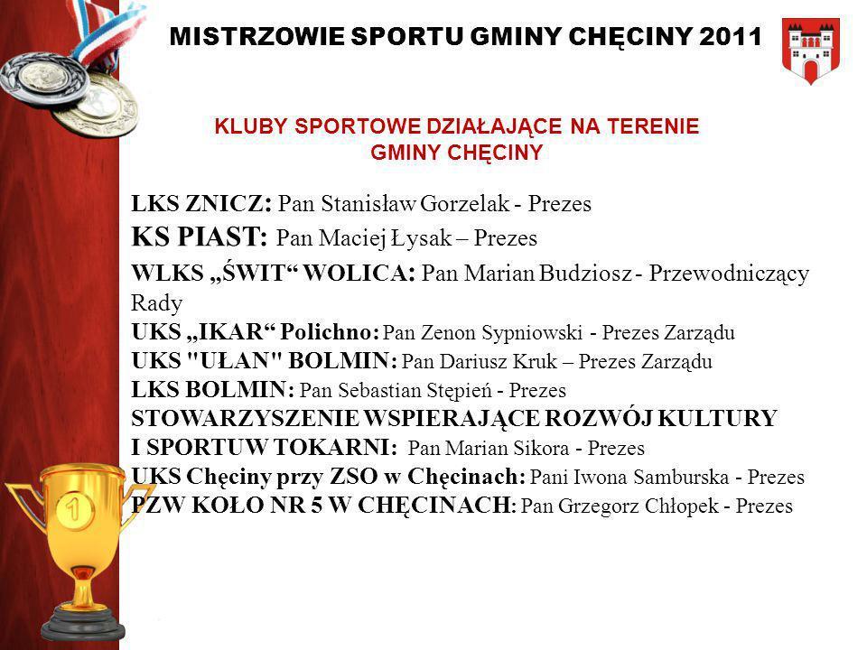 MISTRZOWIE SPORTU GMINY CHĘCINY 2011 NOMINOWANI W KATEGORII: TRENER ROKU 2011 Czesław Zaborski Paweł Nowaczek
