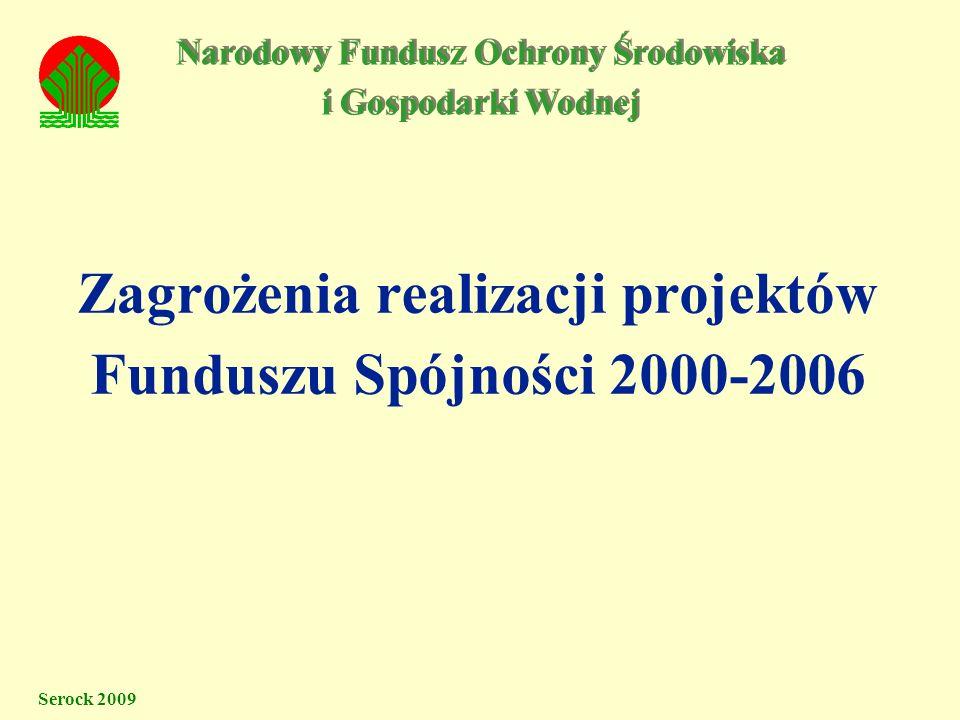 Zagrożenia realizacji projektów Funduszu Spójności 2000-2006 Serock 2009 Narodowy Fundusz Ochrony Środowiska i Gospodarki Wodnej