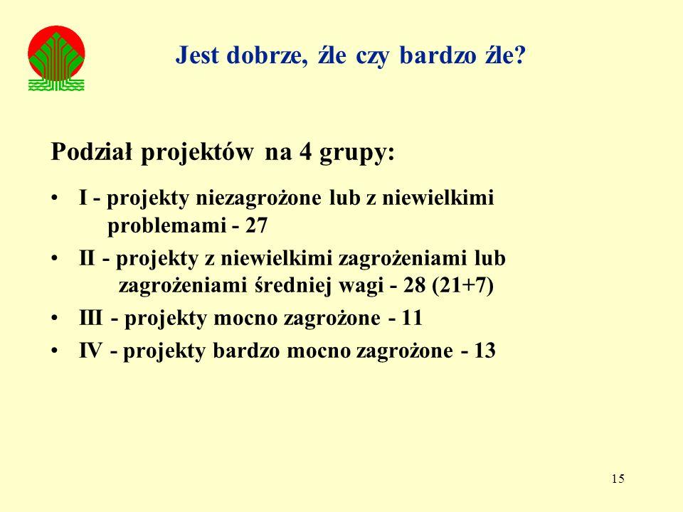 15 Podział projektów na 4 grupy: I - projekty niezagrożone lub z niewielkimi problemami - 27 II - projekty z niewielkimi zagrożeniami lub zagrożeniami średniej wagi - 28 (21+7) III - projekty mocno zagrożone - 11 IV - projekty bardzo mocno zagrożone - 13 Jest dobrze, źle czy bardzo źle?