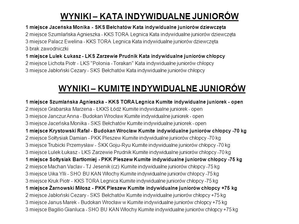 WYNIKI – KATA INDYWIDUALNE KADETÓW 1 miejsce Janiszyn Anna - LKS Zarzewie Prudnik Kata indywidualne kadetów dziewczęta 2 miejsce Mika Beata - LKS