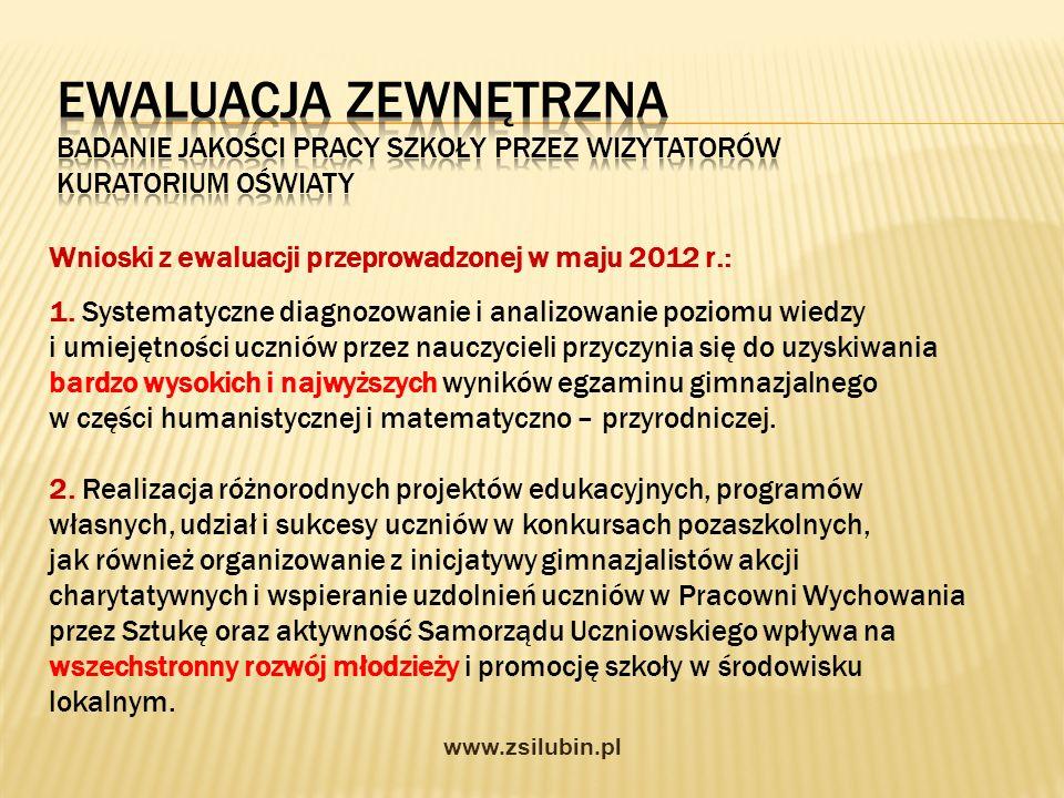 Wnioski z ewaluacji przeprowadzonej w maju 2012 r.: 1. Systematyczne diagnozowanie i analizowanie poziomu wiedzy i umiejętności uczniów przez nauczyci