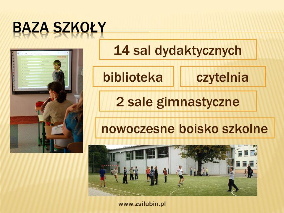 14 sal dydaktycznych bibliotekaczytelnia 2 sale gimnastyczne nowoczesne boisko szkolne www.zsilubin.pl