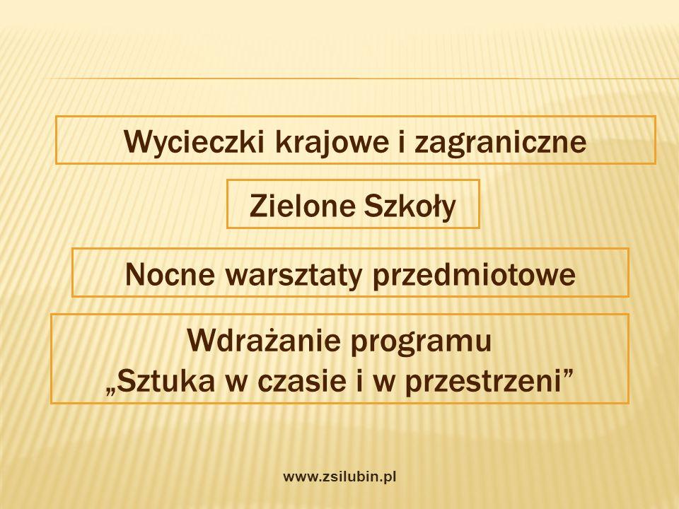 Wycieczki krajowe i zagraniczne Zielone Szkoły Wdrażanie programu Sztuka w czasie i w przestrzeni Nocne warsztaty przedmiotowe www.zsilubin.pl