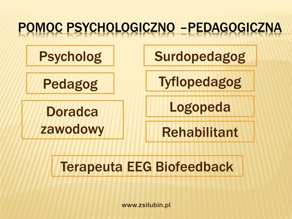 Pedagog Doradca zawodowy Psycholog Surdopedagog Tyflopedagog Terapeuta EEG Biofeedback Logopeda Rehabilitant www.zsilubin.pl