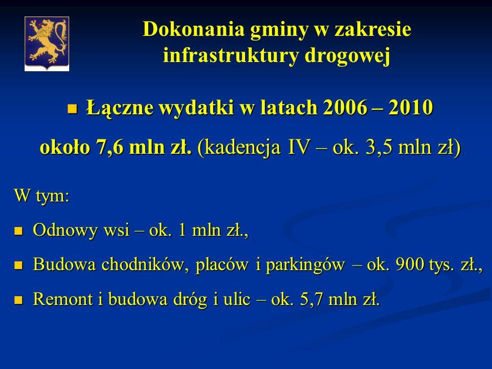 Łączne wydatki w latach 2006 – 2010 Łączne wydatki w latach 2006 – 2010 około 7,6 mln zł.