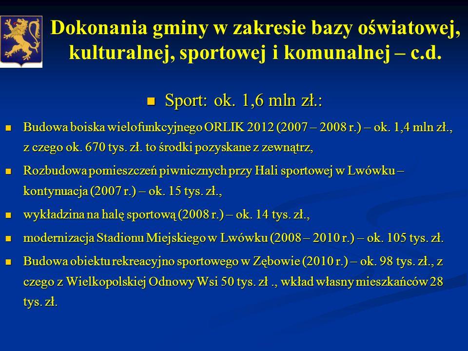 Sport: ok.1,6 mln zł.: Sport: ok.