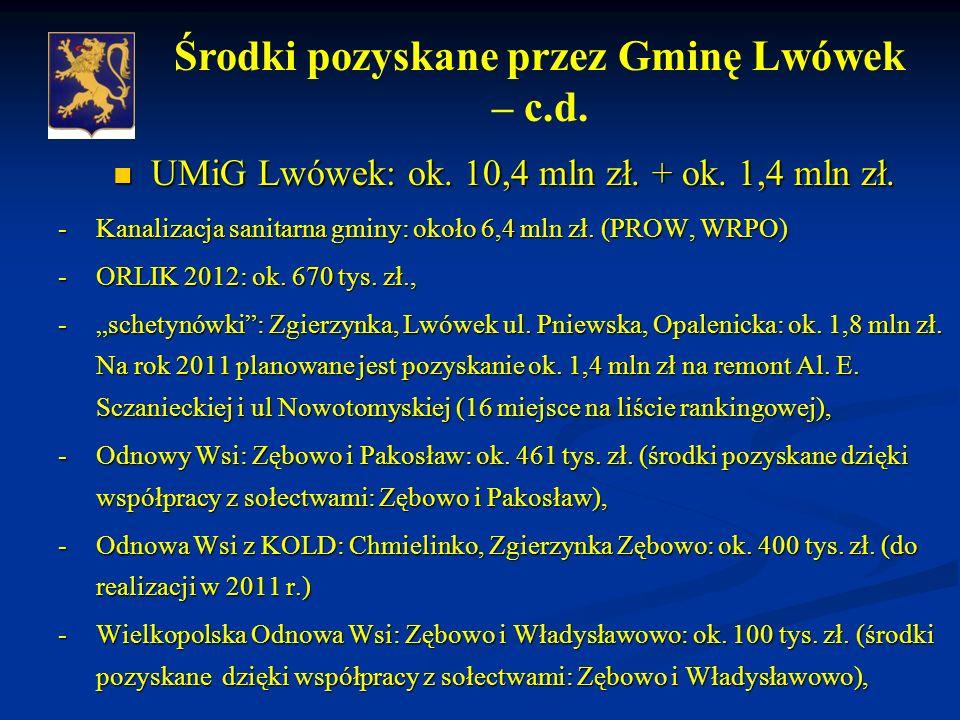 UMiG Lwówek: ok.10,4 mln zł. + ok. 1,4 mln zł. UMiG Lwówek: ok.