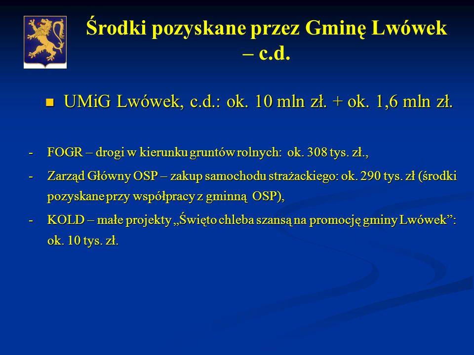 UMiG Lwówek, c.d.: ok. 10 mln zł. + ok. 1,6 mln zł.