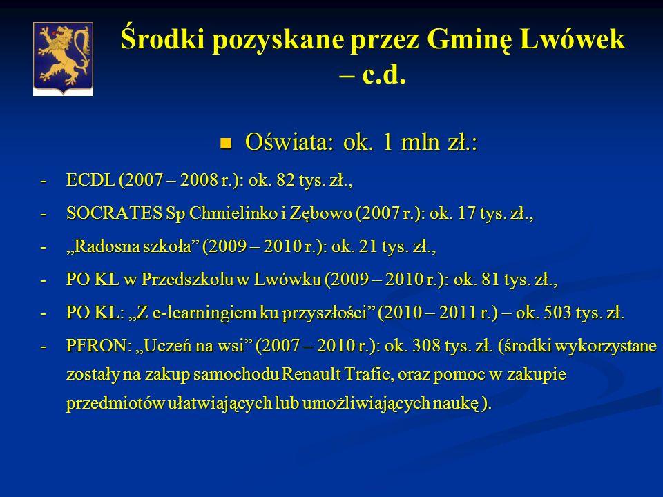 Oświata: ok. 1 mln zł.: Oświata: ok. 1 mln zł.: -ECDL (2007 – 2008 r.): ok.