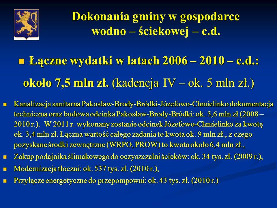 Łączne wydatki w latach 2006 – 2010 – c.d.: Łączne wydatki w latach 2006 – 2010 – c.d.: około 7,5 mln zł.