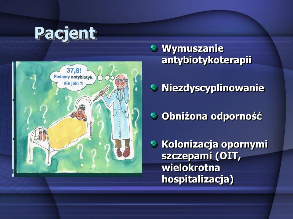 PacjentPacjent Wymuszanie antybiotykoterapii Niezdyscyplinowanie Obniżona odporność Kolonizacja opornymi szczepami (OIT, wielokrotna hospitalizacja) W
