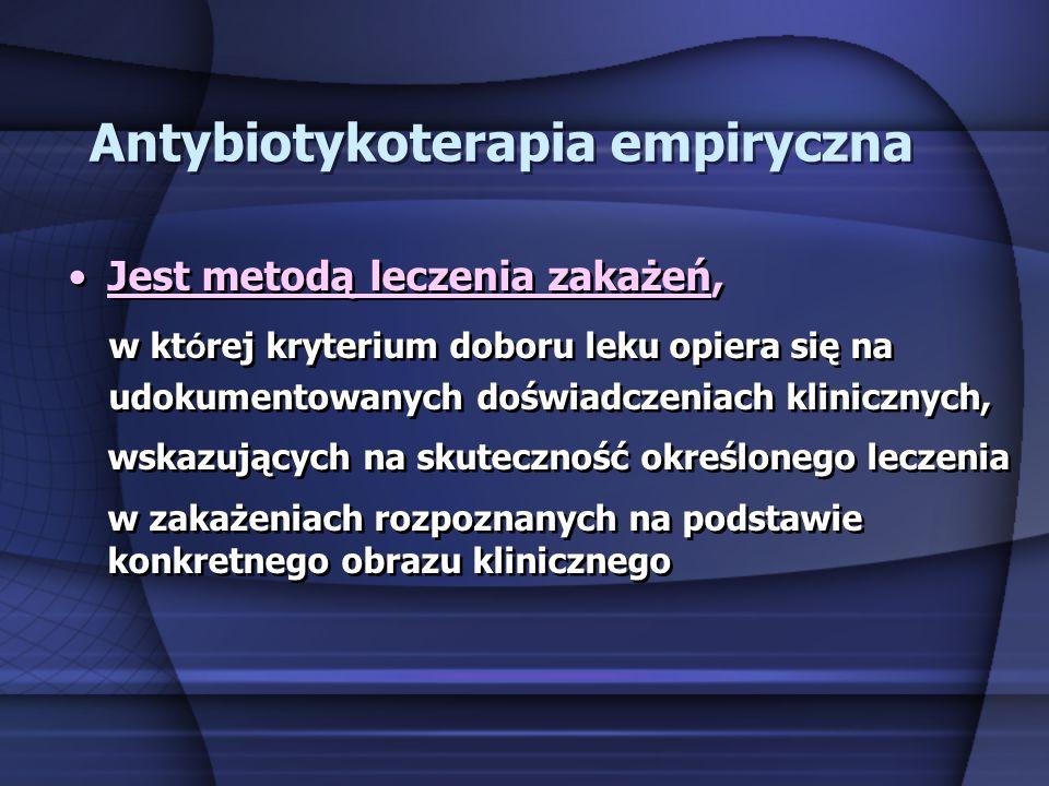 Antybiotykoterapia celowana Jest metodą leczenia zakażeń, w kt ó rej kryterium doboru leku opiera się wyniku badania mikrobiologicznego, pozwalającego na określenie czynnika etiologicznego zakażenia oraz oznaczenie jego wrażliwości in vitro na antybiotyki i chemioterapeutyki Jest metodą leczenia zakażeń, w kt ó rej kryterium doboru leku opiera się wyniku badania mikrobiologicznego, pozwalającego na określenie czynnika etiologicznego zakażenia oraz oznaczenie jego wrażliwości in vitro na antybiotyki i chemioterapeutyki