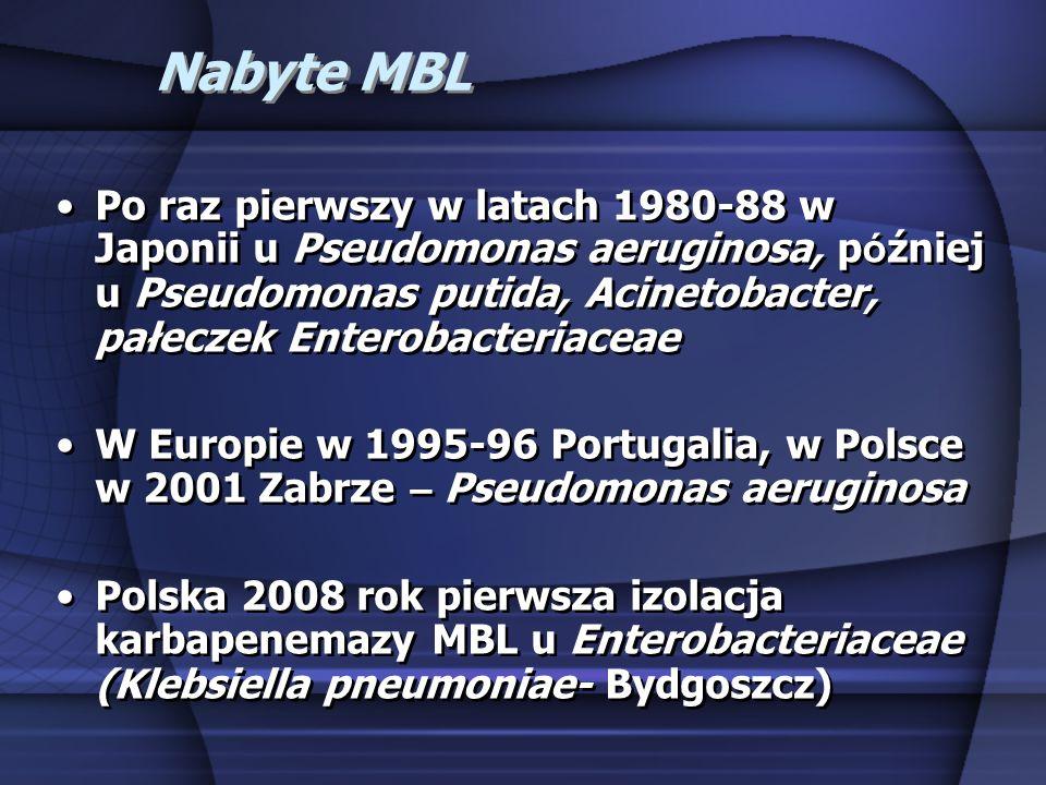 Nabyte MBL Po raz pierwszy w latach 1980-88 w Japonii u Pseudomonas aeruginosa, p ó źniej u Pseudomonas putida, Acinetobacter, pałeczek Enterobacteria
