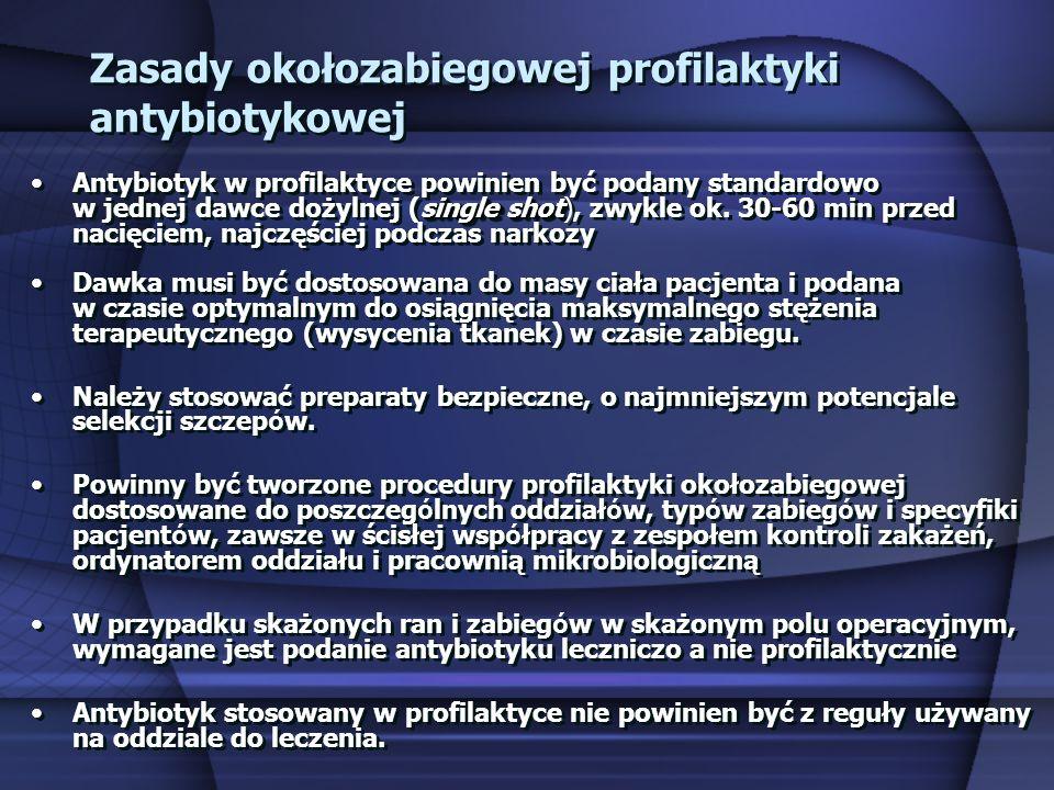 Zasady okołozabiegowej profilaktyki antybiotykowej single shotAntybiotyk w profilaktyce powinien być podany standardowo w jednej dawce dożylnej (singl